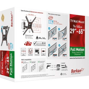 """Barkan Full-Motion Wall Mount for TV - Black - 1 Display(s) Supported - 29"""" to 65"""" Screen Support - 88 lb Load Capacity -"""