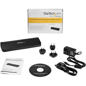 StarTech.com USB 3.0 Docking Station für Notebook - Schwarz - TAA-konform - 2 Unterstützte Displays - HD - 1920 x 1200, 19