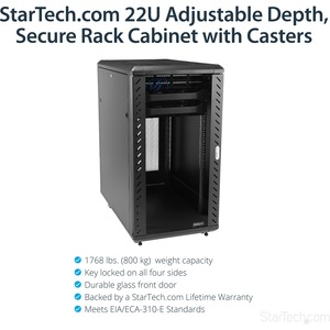 StarTech.com 22U Bodenstehend Rackschrank für Server, LAN-Schalter, Patchfeld, A/V-Geräte, KVM-Schalter - 482,60 mm Rack W