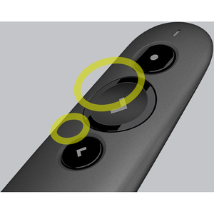 Logitech R500 Pointer - Bluetooth/Radio-Frequenz - USB - Laser - 3 Taste(n) - Schwarz - Kabellos - Symmetrisch