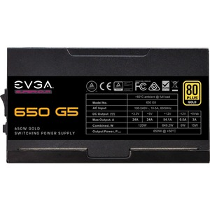 EVGA SuperNOVA 650 G5 Power Supply - Internal - 120 V AC, 230 V AC Input - 3.3 V DC @ 24 A, 5 V DC @ 24 A, 12 V DC @ 54.1