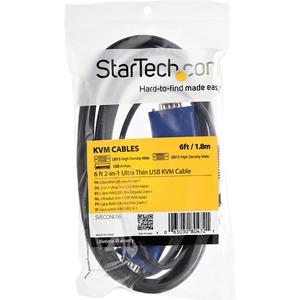StarTech.com 1,8m 2-in-1 USB VGA KVM Kabel - Erster Anschluss: 1 x Typ A Stecker USB - Zweiter Anschluss: 1 x HD-15 Stecke