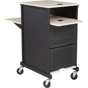 "Oklahoma Jumbo Presentation Cart - 4"" Caster Size - Steel, Medium Density Fiberboard (MDF) - Black, Ivory LOCKABLE CABINET"