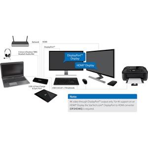 StarTech.com Dual Monitor USB 3.0 Dockingstation mit HDMI & 4K DisplayPort - TAA konform - 4x USB Ports - USB Fast Charge