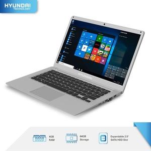 "Hyundai Thinnote-A, 14.1"" Celeron Laptop, 4GB RAM, 64GB Storage, Expandable 2.5"" SATA HDD Slot, Windows 10 Home S Mode, En"