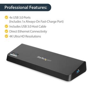StarTech.com USB 3.0 Docking Station für Notebook - Ladefunktion - Schwarz - TAA-konform - 2 Unterstützte Displays - 3840