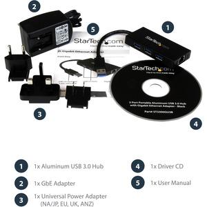 StarTech.com USB 3.0 Hub with Gigabit Ethernet Adapter - 3 Port - NIC - USB Network / LAN Adapter - Windows & Mac Compatib
