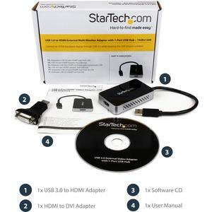 StarTech.com AV-Adapter - 1 Paket - TAA-konform - 1 x Typ A Stecker USB - 1 x HDMI Buchse Digitaler Audio-/Video-Anschluss