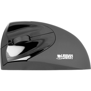 Urban Factory Wireless ergonomic USB mouse - Optical - Wireless - Radio Frequency - Black - 1 Pack - USB - 1600 dpi - Scro
