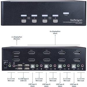 StarTech.com 4 Port Dual DisplayPort KVM Switch - DisplayPort 1.2 KVM - 4K 60Hz - 4 Computer - 1 Lokaler Benutzer(n) - 384