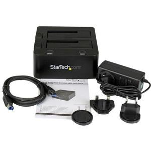 StarTech.com Laufwerk-Dock SATA/600 - USB 3.0 Typ B Host Interface - UASP-Support Extern - Schwarz - 2 x HDD unterstützt -