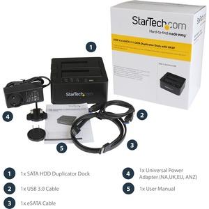 StarTech.com Laufwerk-Dock SATA/600 - USB 3.0 Typ B, eSATA Host Interface - UASP-Support Extern - Schwarz - 2 x HDD unters