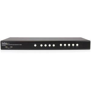 StarTech.com KVM-Switchbox - TAA-konform - 4 Computer - 1 Lokaler Benutzer(n) - 1920 x 1200 - 2 x Netzwerk (RJ-45) - 8 x U