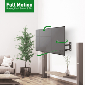 """Barkan Full-Motion 3400L Wall Mount for TV - Black - 1 Display(s) Supported - 13"""" to 80"""" Screen Support - 110 lb Load Capa"""