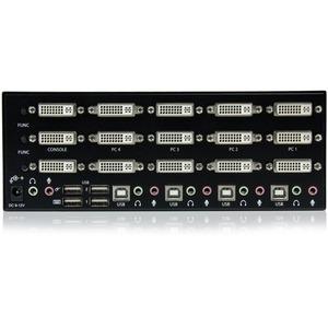 StarTech.com 4 Port Triple Monitor DVI USB KVM Switch with Audio & USB 2.0 Hub - 4 Port - Rack-mountable