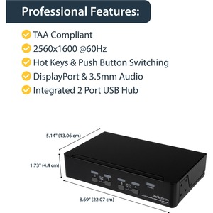 StarTech.com 4 Port DisplayPort KVM Switch w/ Audio - USB, Keyboard, Video, Mouse, Computer Switch Box for 2560x1600 DP Mo