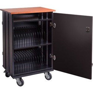 """Oklahoma Sound TCSC-32 Tablet Charging & Storage Cart - 3 Shelf - 4 Casters - 4"""" Caster Size - Particleboard, Metal - x 23"""
