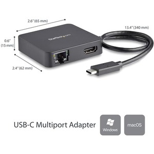 StarTech.com USB C Multiport Adapter - Portable USB Type-C Mini Dock to 4K UHD HDMI Video - GbE, USB 3.0 Hub - Thunderbolt
