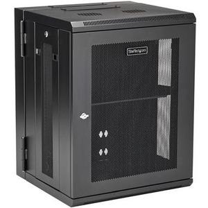 "StarTech.com 15U 19"" Wall Mount Network Cabinet - 16"" Deep Hinged Locking Flexible IT Data Equipment Rack Vented Switch En"