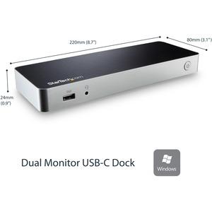 StarTech.com Dual Monitor USB C Docking Station w/ 60W Power Delivery - USB 3.1 Gen 1 Type C to HDMI or DVI - 5x USB - Win