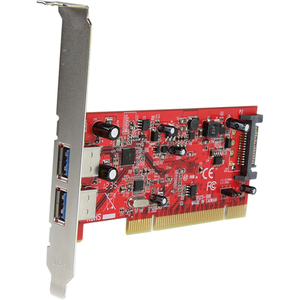 StarTech.com 2 Port PCI SuperSpeed USB 3.0 Adapter Card with SATA Power - 2 Total USB Port(s) - 2 USB 3.0 Port(s) - PC