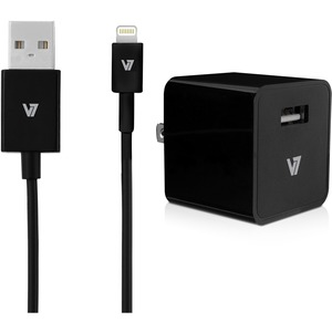 V7 12W USB Wall Charger with Lightning Cable - 120 V AC, 230 V AC Input - 5 V DC/2.40 A Output AIR IPHONE W/ 1M LIGHTNING