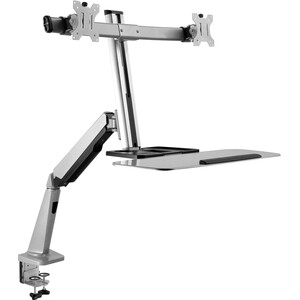 """V7 DW1SSGSD-1N Desk Mount for Monitor, Keyboard, Mouse - Silver - 2 Display(s) Supported27"""" Screen Support - 13.23 lb Load"""