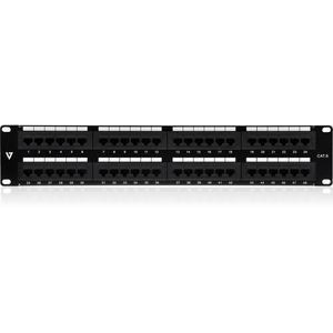 """V7 48 Port Cat6 Patch Panel 2U - 48 Port(s) - 48 x RJ-45 - 2U High - Black - 19"""" Wide - Rack-mountable RACK MOUNT 110 & LS"""