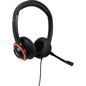 V7 HA530E Kabel Kopfbügel Stereo Headset - Schwarz - Binaural - Ohraufliegend - 200 cm Kabel - Geräuschunterdrückung Mikro