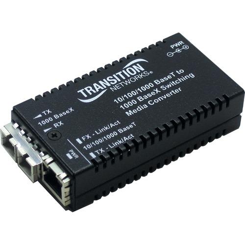 Transition Networks 10/100/1000Base-TX to 1000Base-SX Media Converter - 1 x RJ-45 , 1 x SC - 10/100/1000Base-T, 1000Base-S