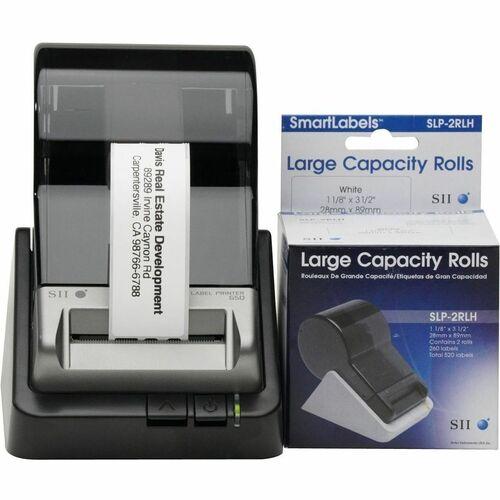 "Seiko SmartLabel SLP-2RLH Address Label - 1 1/8"" x 3 1/2"" Length - Rectangle - Direct Thermal - White - Paper - 260 / Roll"