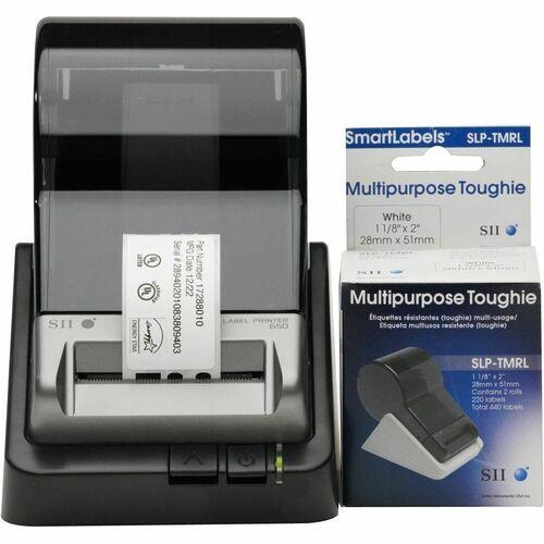 """Seiko SmartLabel SLP-TMRL Toughie Multipurpose Label - 1.12"""" Width x 2"""" Length - 220/Roll - 0.79"""" Core - 2 Roll - White FO"""
