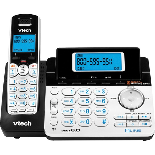 VTech DS6151 DECT 6.0 2-Line Expandable Cordless Phone with Answering System, Silver/Black with 1 Handset - 2 x Phone Line