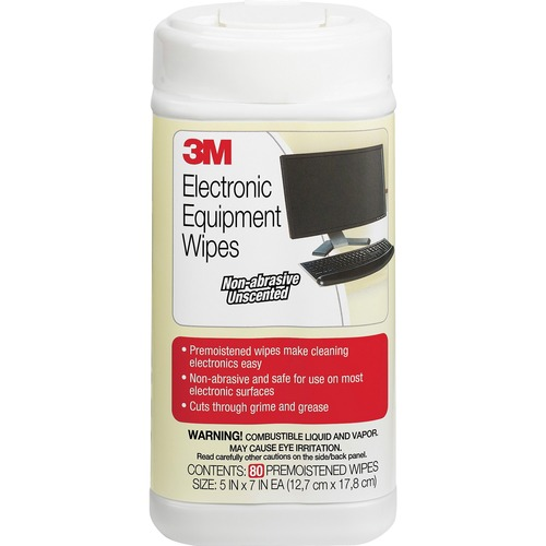 3M Premoistened Electronic Cleaning Wipes - Pre-moistened, Anti-static - 75 / Canister - 80 / Each - Aqua TUB