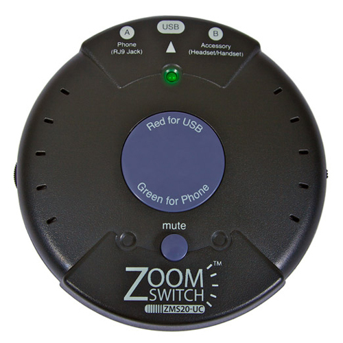 ZoomSwitch ZMS20-UC Headset Adapter for Phone and PC with Vol. and Mute USB W/ VOL AND MUTE - STAPLES ONLY