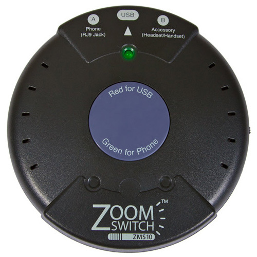 ZoomSwitch ZMS10 Headset Adapter for Phone and PC BETWEEN PHONE & PC VIA USB