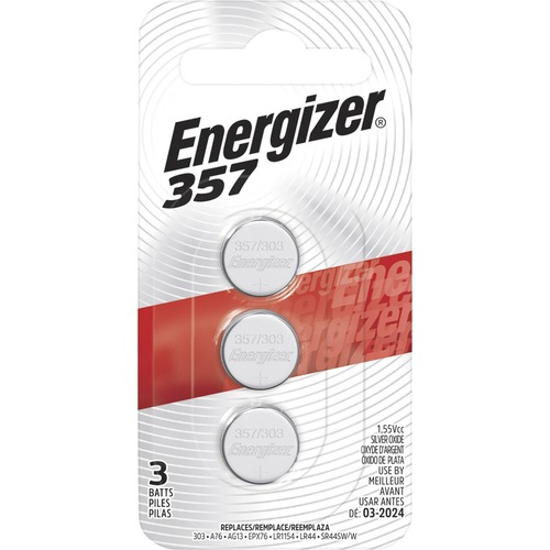 Energizer 357/303 Silver Oxide Button Battery, 3 Pack - For Multipurpose - 1.6 V DC - Silver Oxide - 3 / Pack ZERO MERCURY