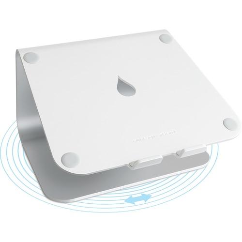 "Rain Design mStand360 - 6"" Height x 10"" Width x 7.5"" Depth - Desktop - Aluminum - Silver SWIVEL BASE - SILVER"