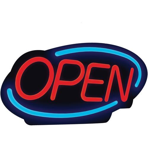 """Royal Sovereign LED Open Business Sign - 1 Each - Open Print/Message - 24.4"""" Width x 13.4"""" Height - Rectangular Shape - En"""