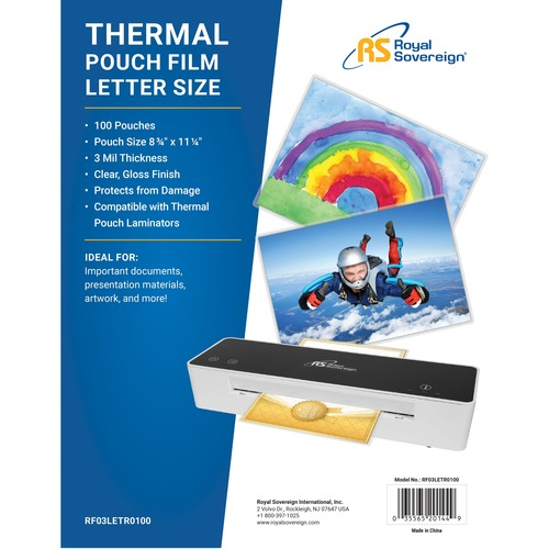 """Royal Sovereign - Letter Size Thermal Laminating Pouches - 3mil - 100 Pack - Letter Size - 8 3/4"""" x 11 1/4"""" - 3mil - 100 P"""