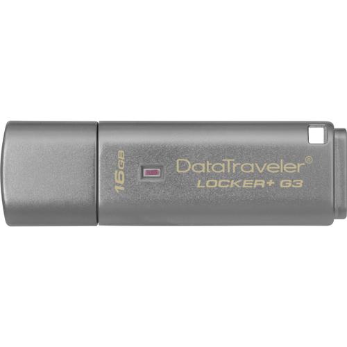 Kingston 16GB DataTraveler Locker+ G3 USB 3.0 Flash Drive - 16 GB - USB 3.0 - 135 MB/s Read Speed - 20 MB/s Write Speed -