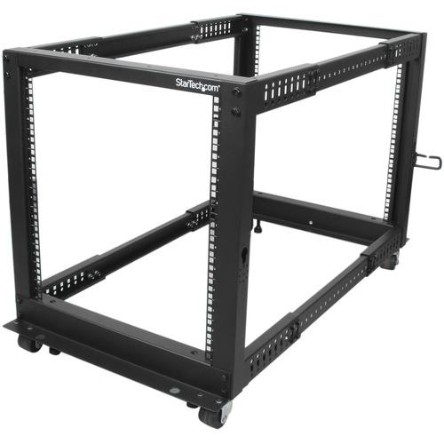 StarTech.com 12U Adjustable Depth Open Frame 4 Post Server Rack w/ Casters / Levelers and Cable Management Hooks - 12U Ope