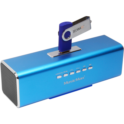 Système de Haut-Parleurs Technaxx MusicMan 2.0 Portable - 3 W RMS - Bleu - Fréquence 150 Hz à 18 kHz - Batterie rechargeab