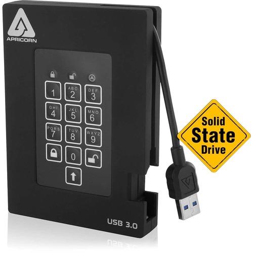 """Apricorn Aegis Padlock Fortress A25-3PL256-S2000F 2 TB Solid State Drive - 2.5"""" External - Black - USB 3.0 PADLOCK SSD USB"""