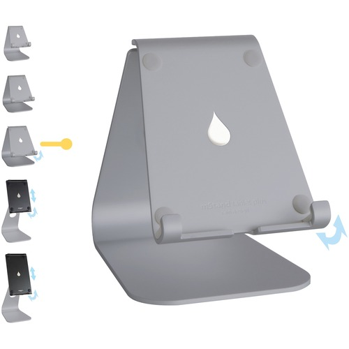"""Rain Design mStand tablet plus - Space Grey - 5.9"""" x 10"""" x 9.3"""" x - Anodized Aluminum - Space Gray ADJUSTABLE IPAD & TABLE"""