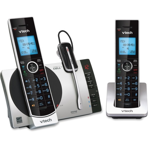 VTech Connect to Cell DS6771-3 DECT 6.0 Cordless Phone - Black, Silver - Cordless - Corded - 1 x Phone Line - 2 x Handset