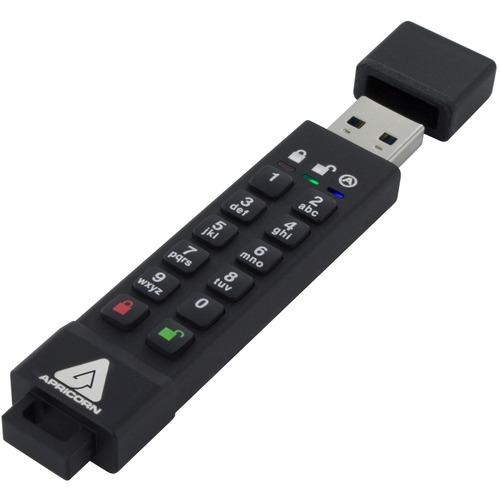 Apricorn 16GB Aegis Secure Key 3z USB 3.1 Flash Drive - 16 GB - USB 3.1 - 77 MB/s Read Speed - 72 MB/s Write Speed - 256-b