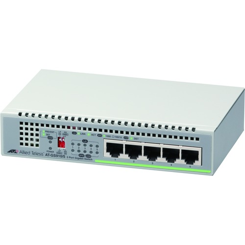 Allied Telesis CentreCOM AT-GS910/5 5 Ports Ethernet Switch - 2 Layer Supported - Twisted Pair - Desktop