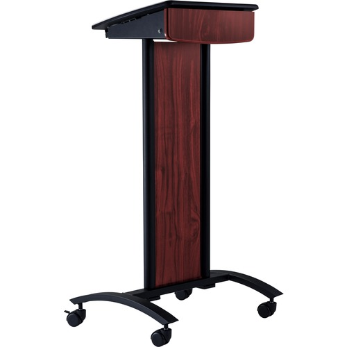 Oklahoma Sound Conversation Lectern - Black, Laminated Top - Assembly Required - Powder Coated Black - Polycarbonate, Lami