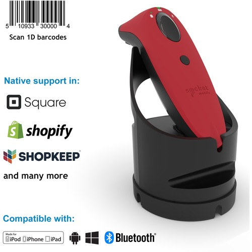 Socket Mobile SocketScan® S700, Linear Barcode Scanner, Red & Black Charging Dock - Wireless Connectivity - 1D - Imager -